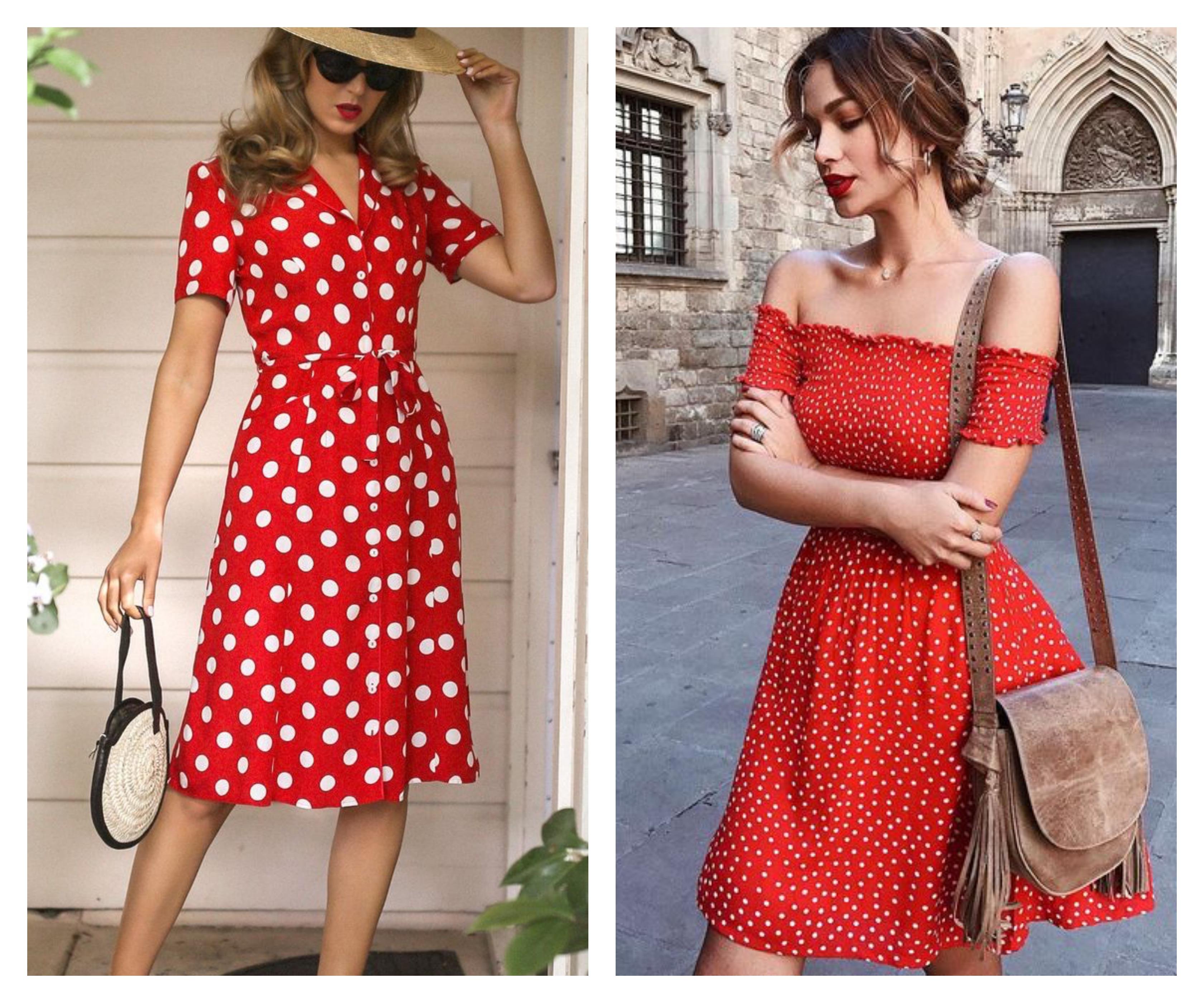 Красное платье в белый горох