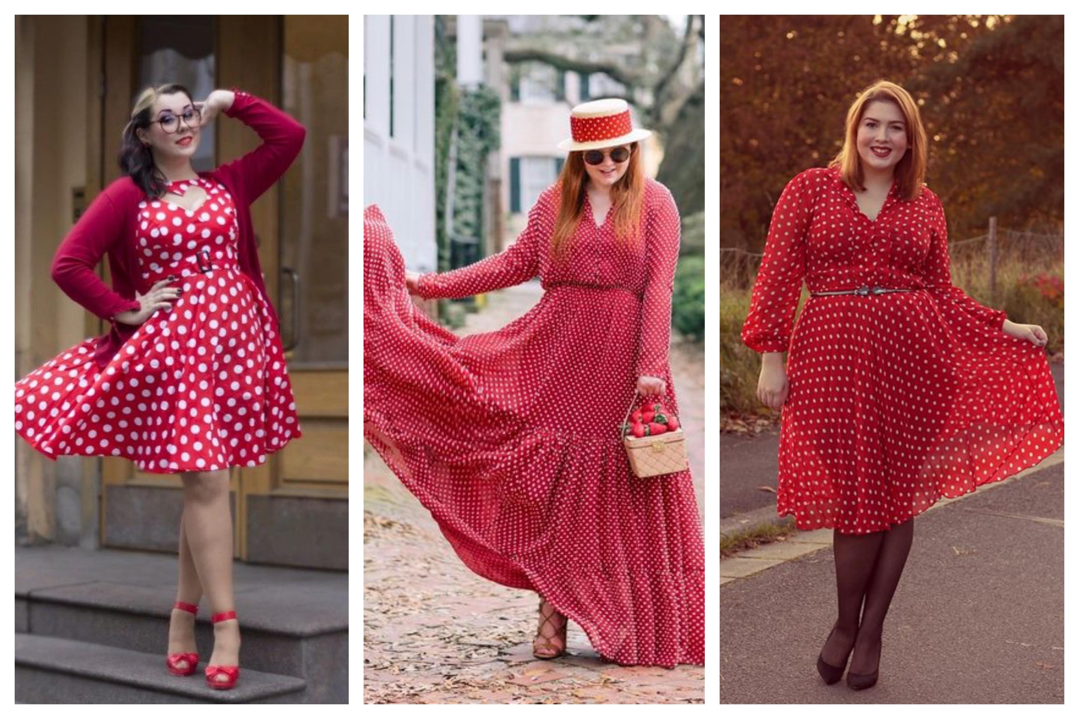 Красное платье в горох для полных