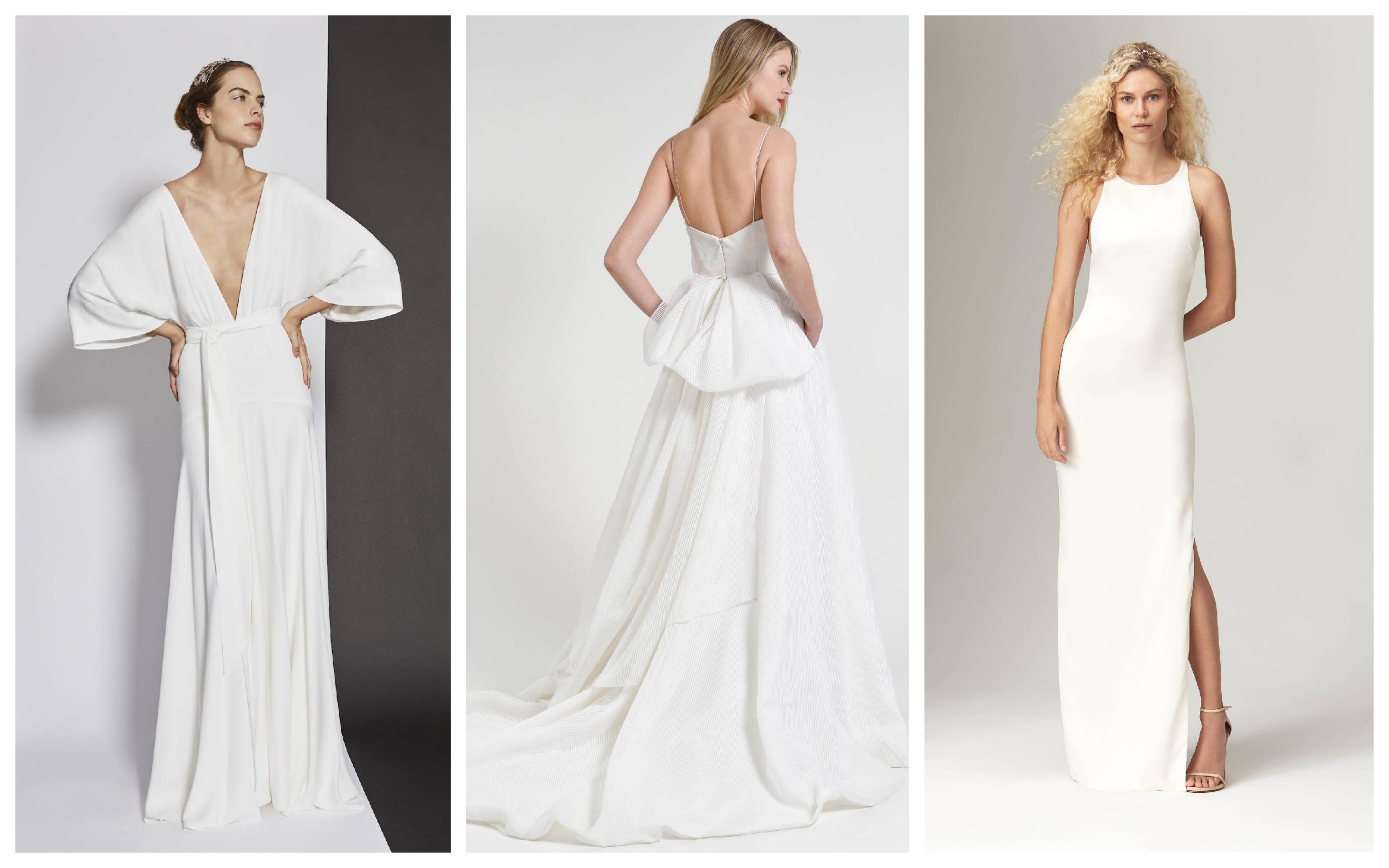 Простое белое свадебное платье 2019