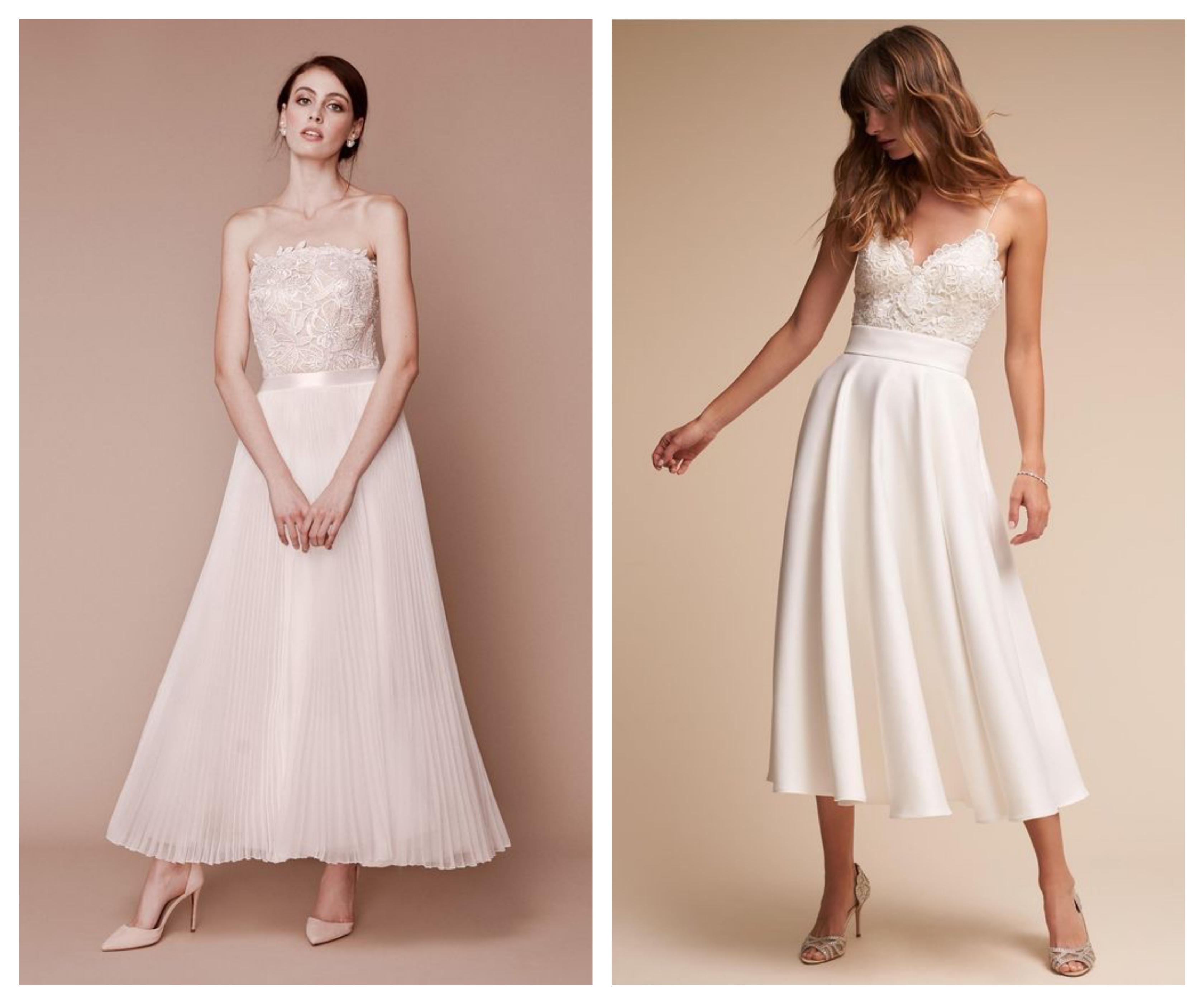 Свадебное платье с укороченной юбкой