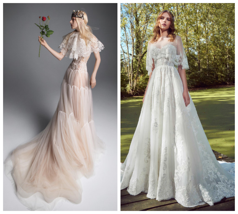 Кейпы в свадебном платье 2019