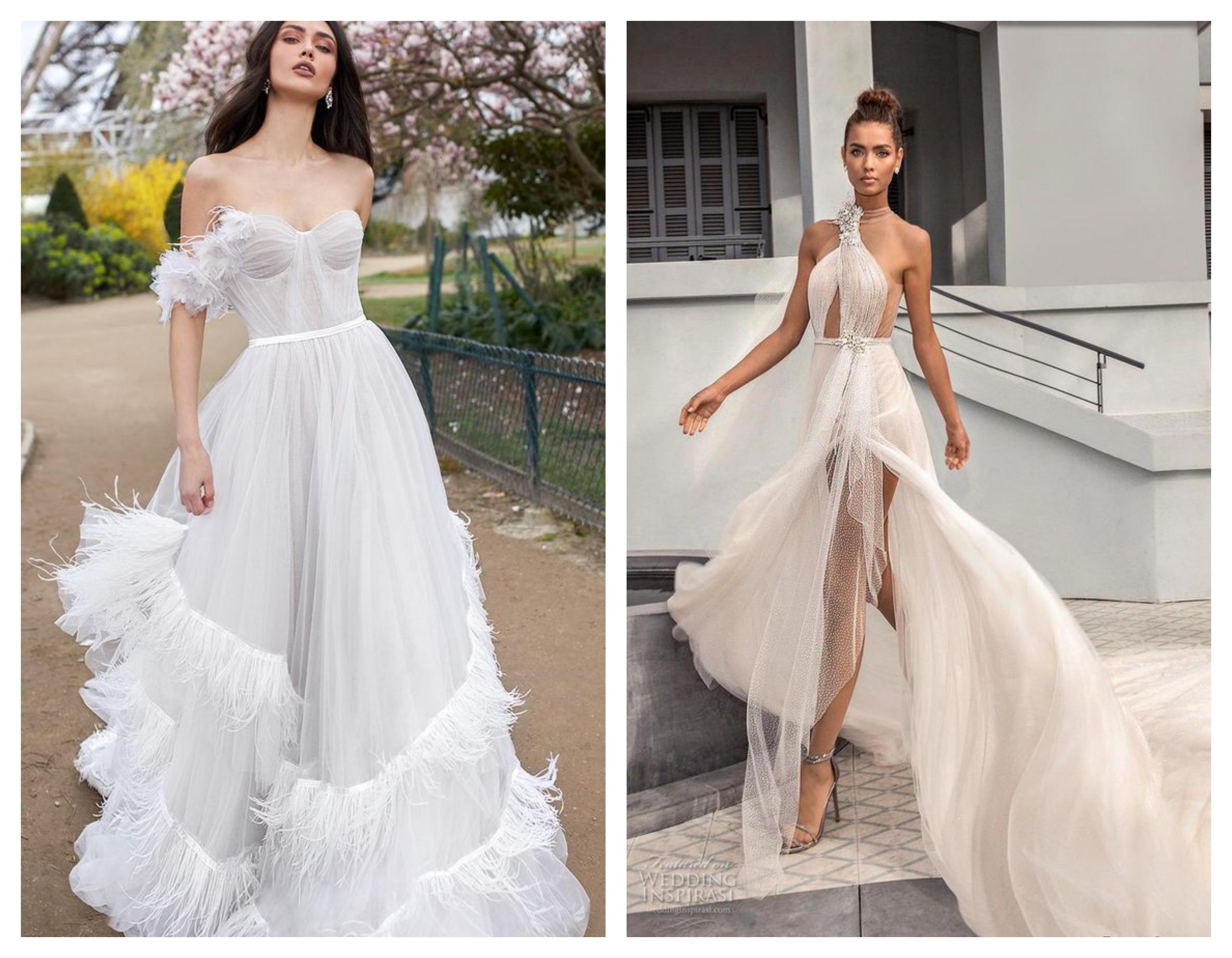 Свадебное платье с открытыми плечами 2019