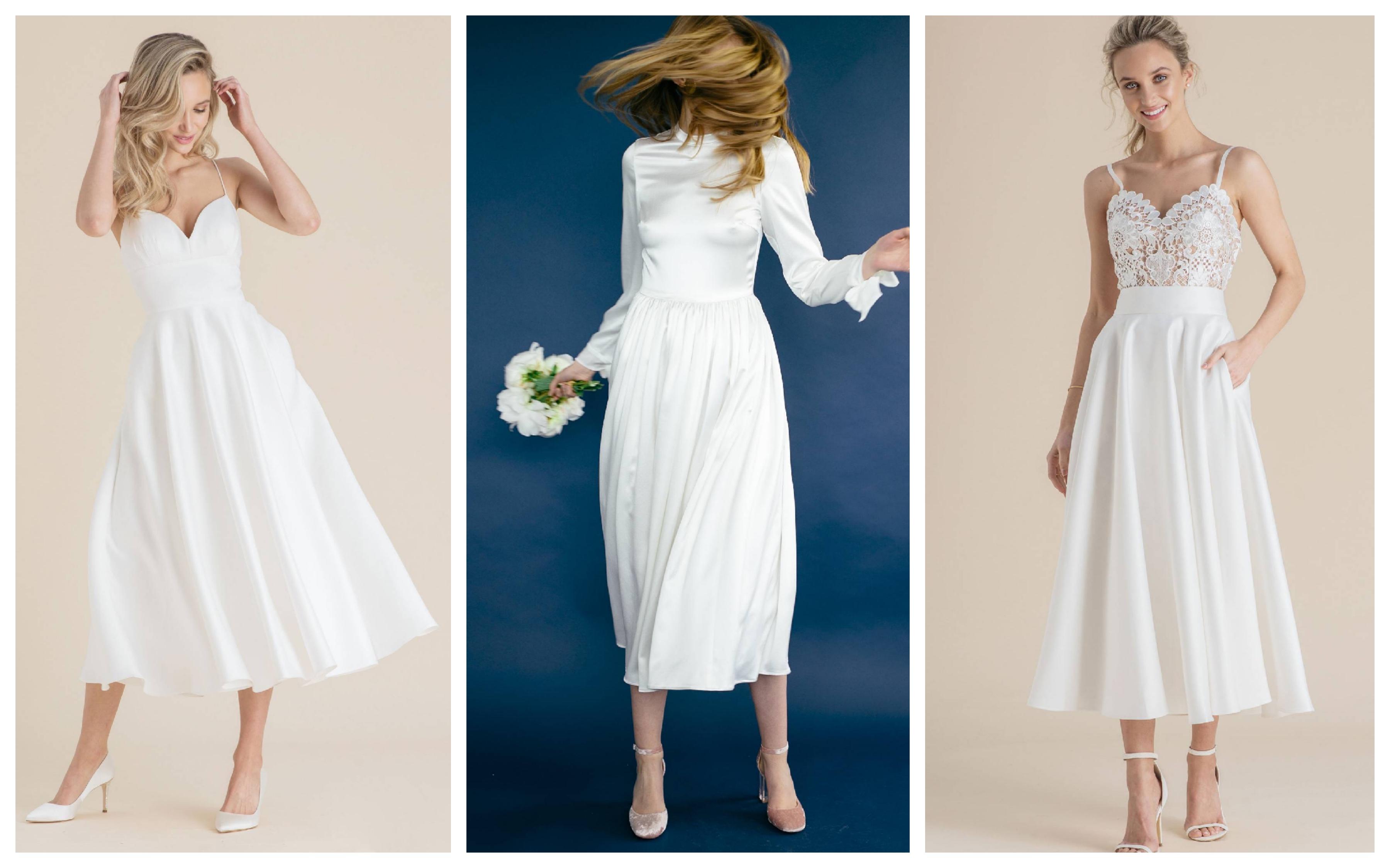Свадебное платье с укороченной юбкой 2019