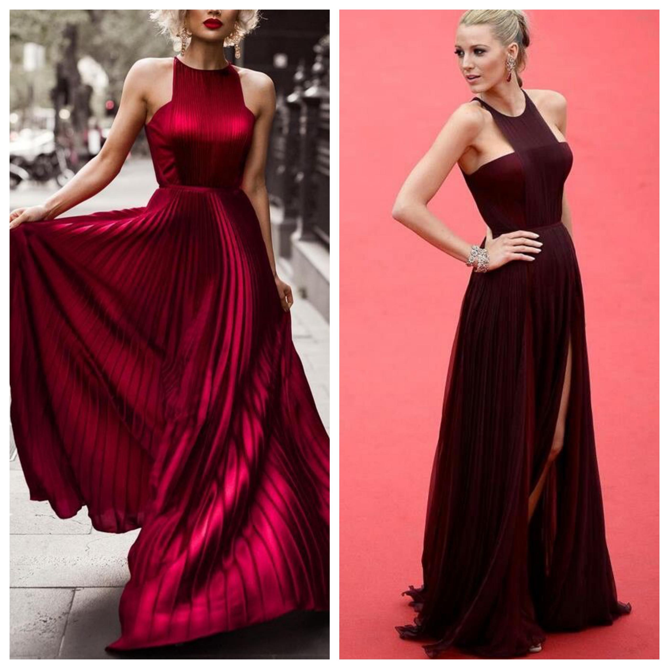 Бордовое вечернее платье на выпускной вечер