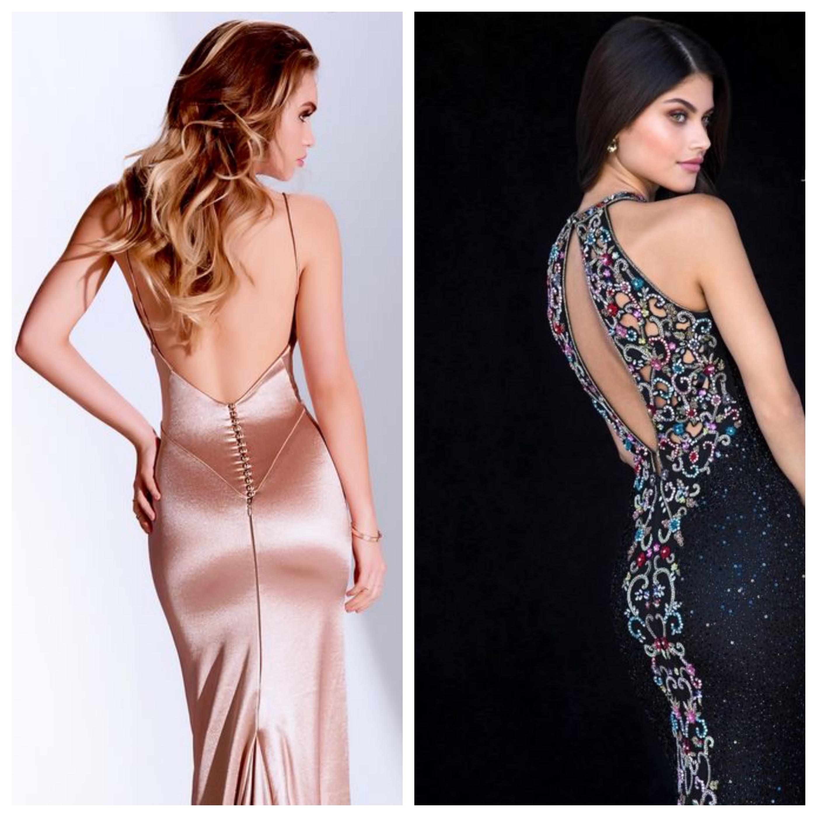 Вечернее платье на выпускной вечер с открытой спиной