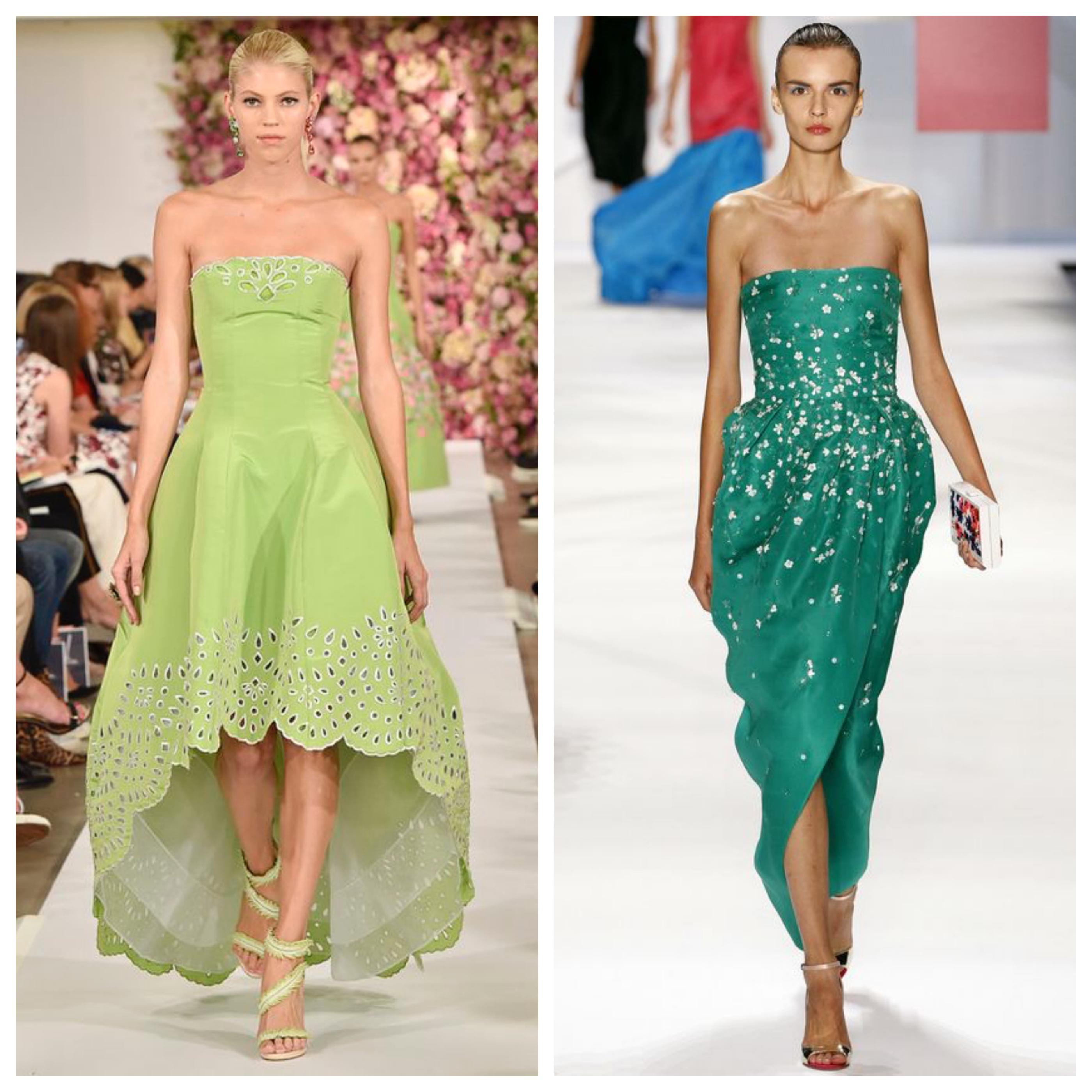 Зеленые цвета вечернего платья на выпускной вечер