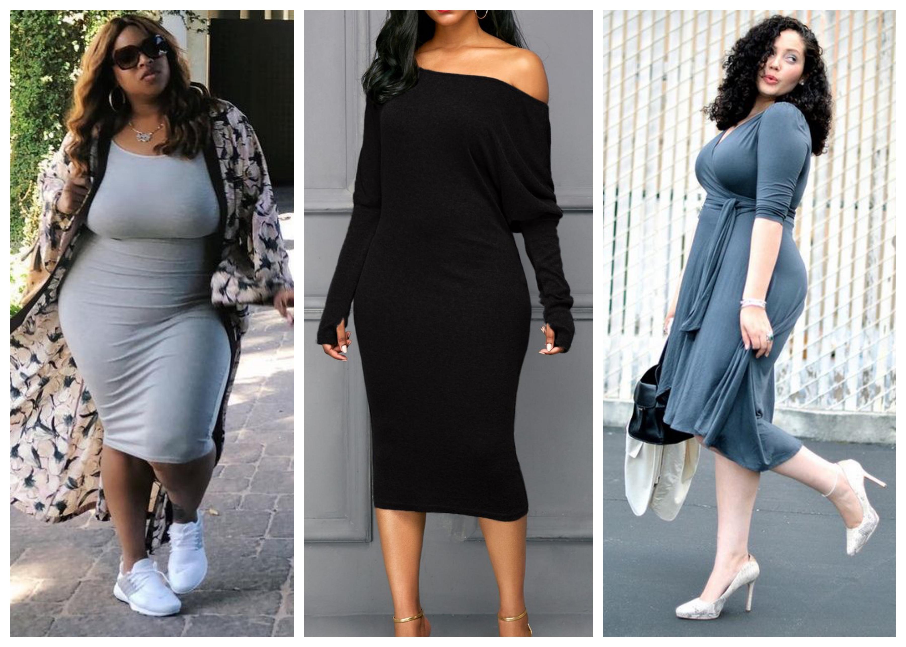 Трикотажное платье для полных женщин