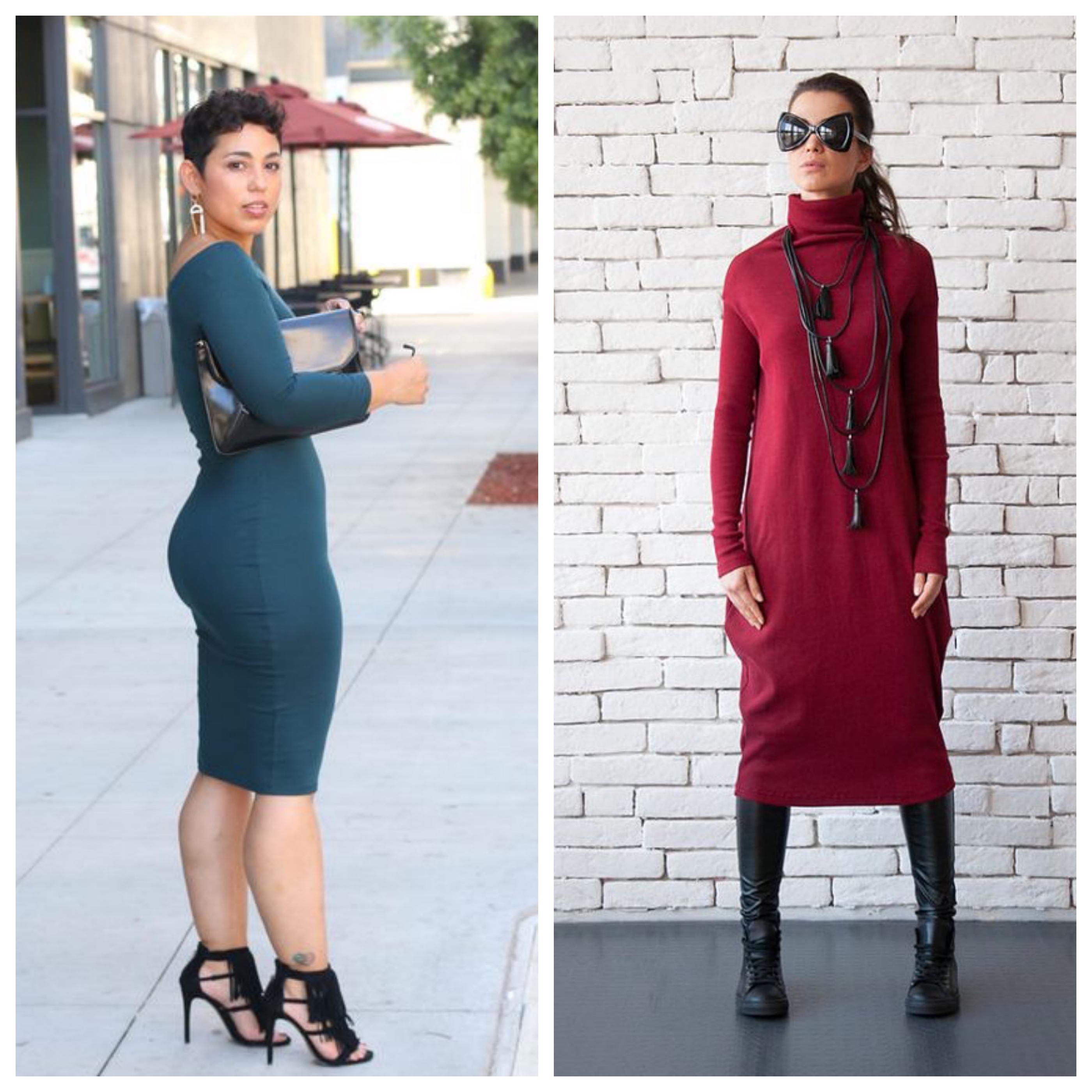 Трикотажное платье - популярные модели и принты