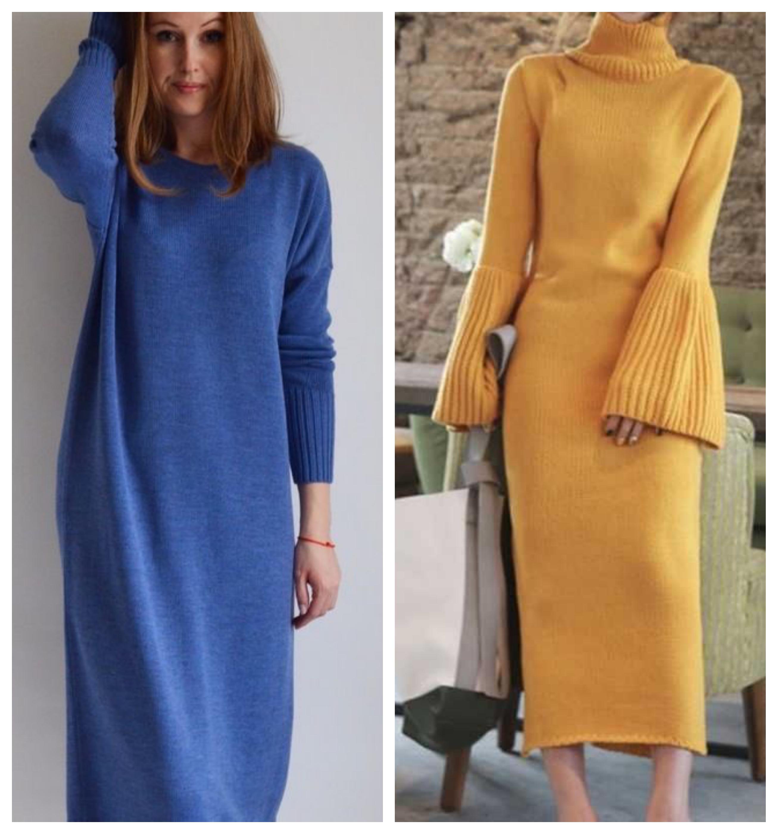 Трикотажное теплое зимнее платье