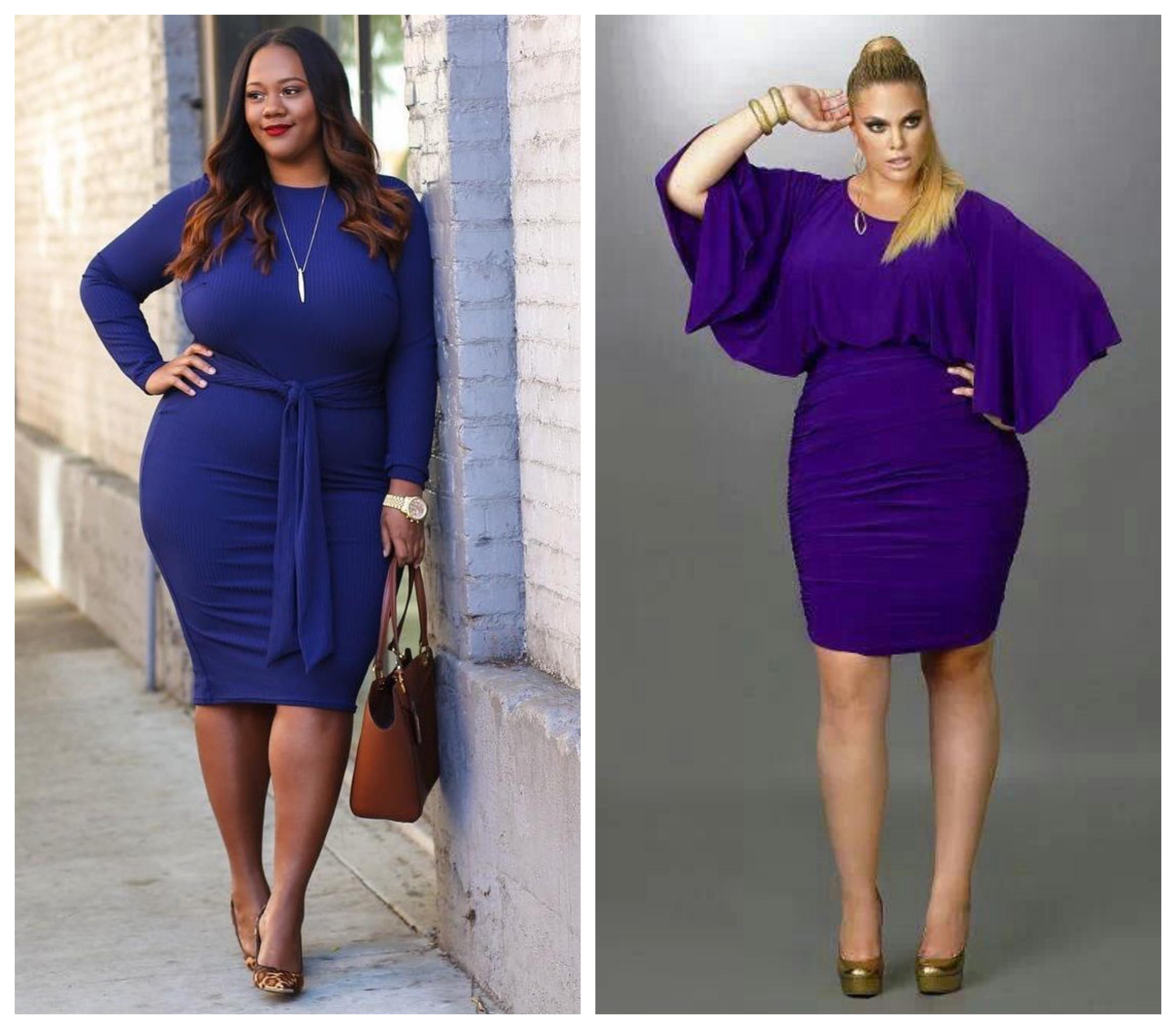 Трикотажное платье для полных синее
