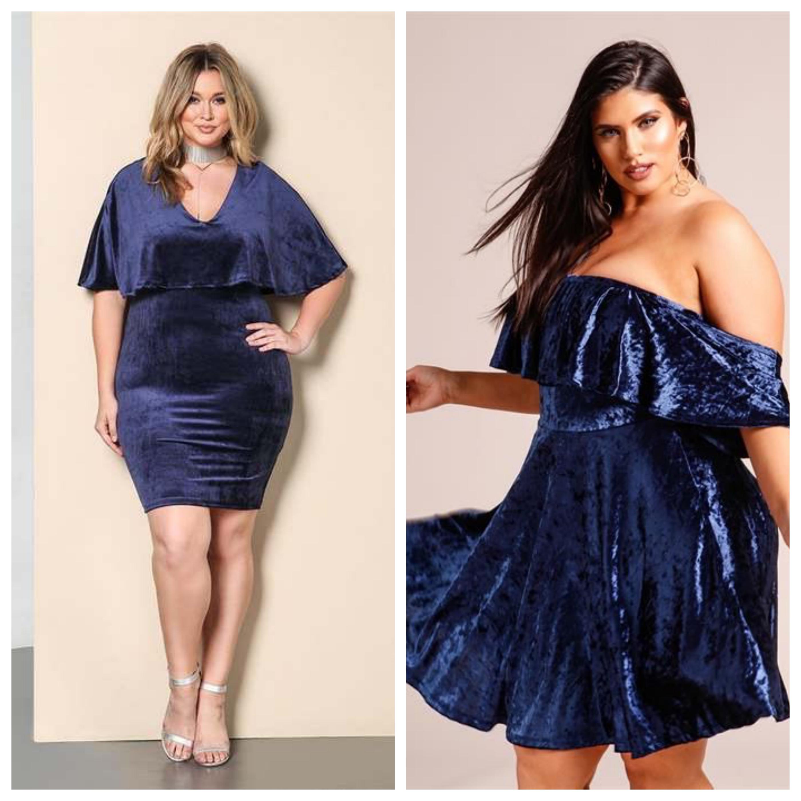 Вечернее синее платье для полных девушек