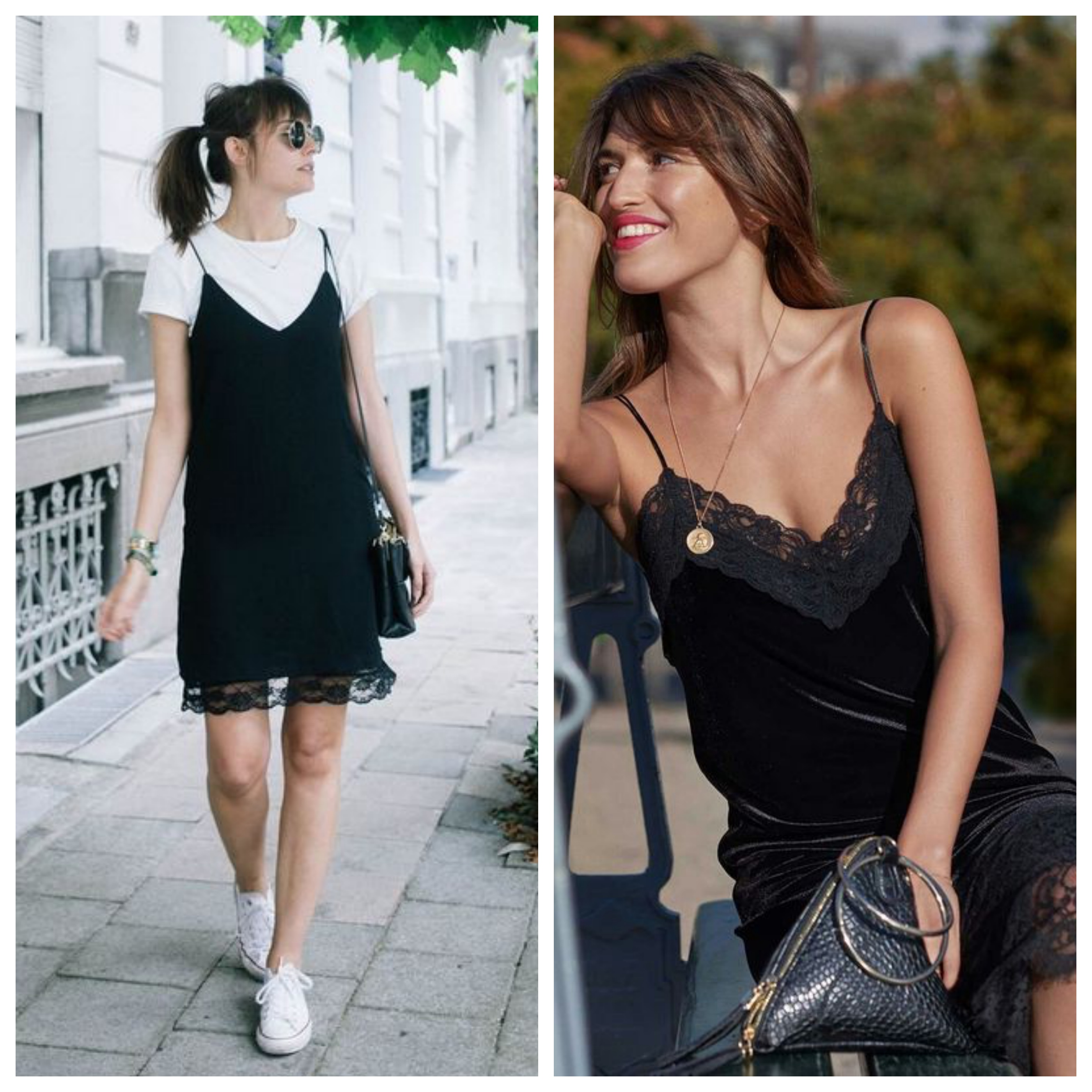 Маленькое черное платье в бельевом стиле с кедами
