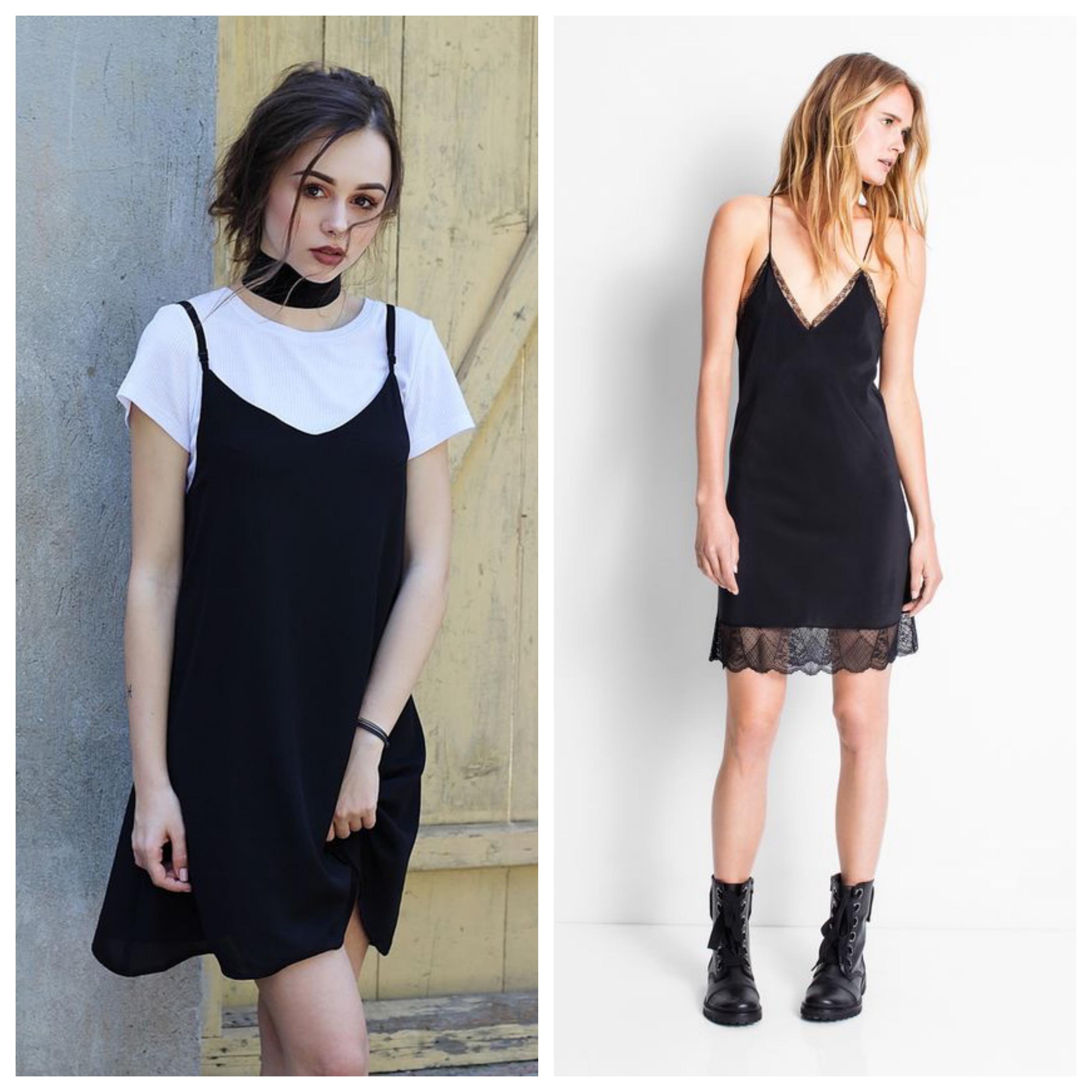 Маленькое черное платье в бельевом стиле с ботинками