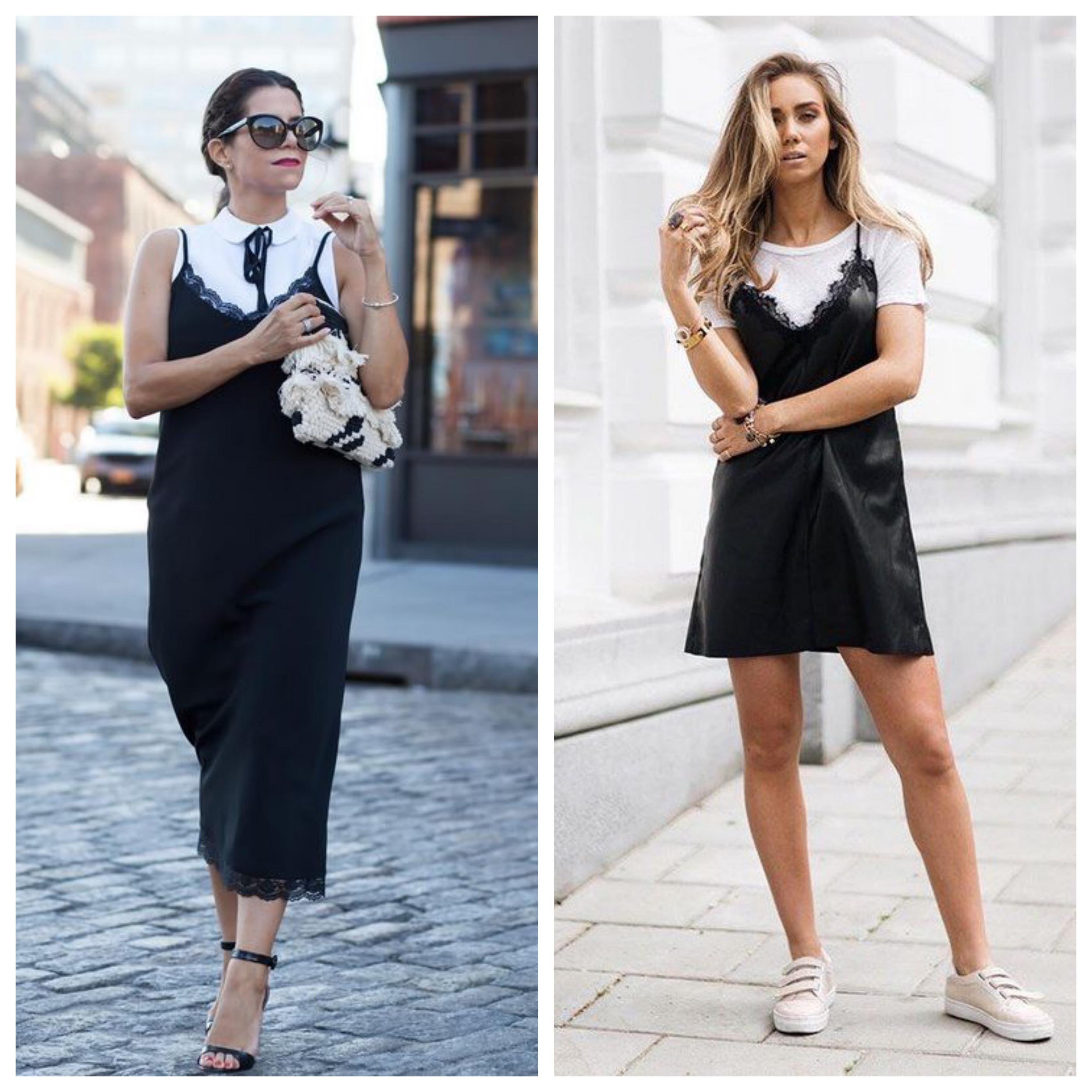 Маленькое черное платье в бельевом стиле под майку