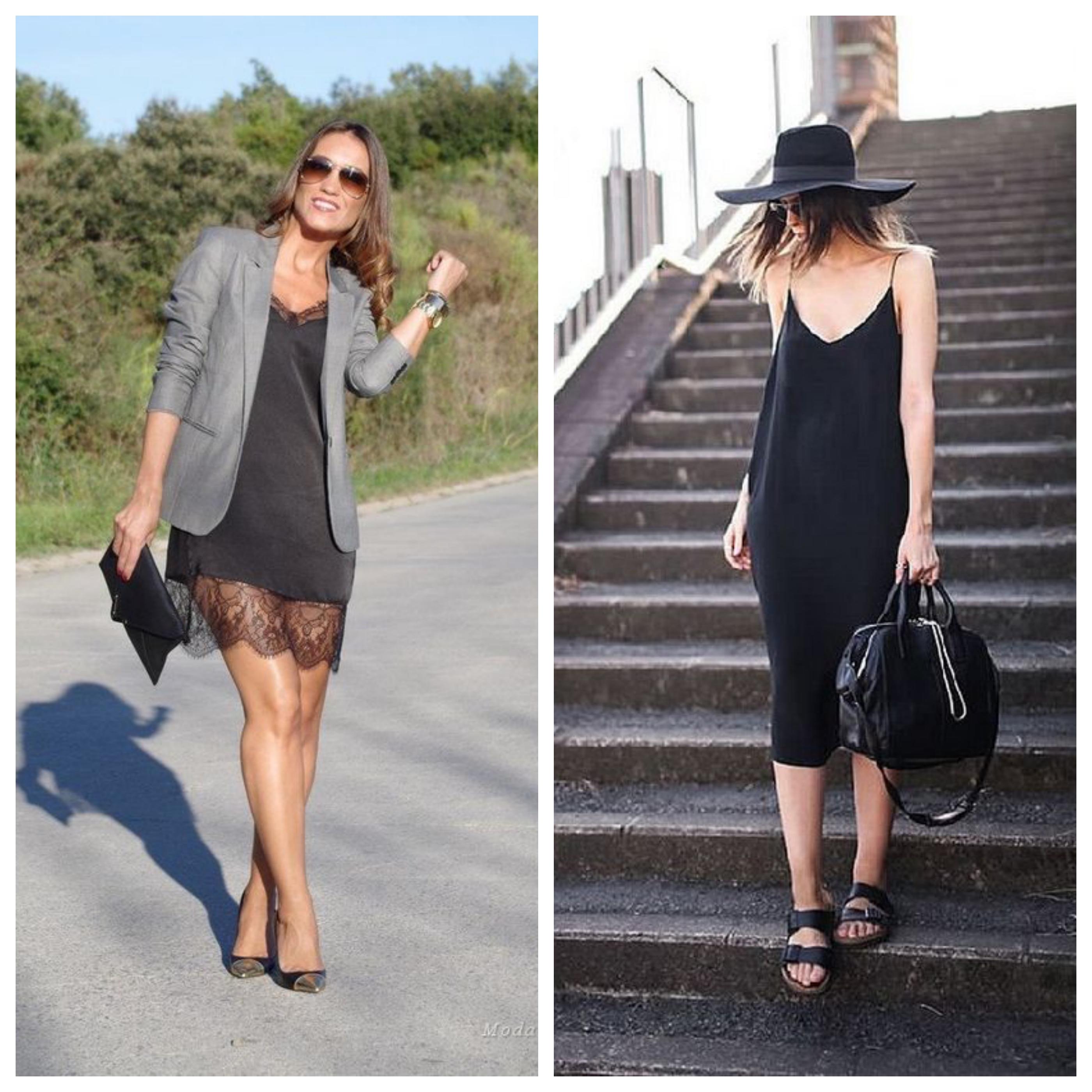 Маленькое черное платье в бельевом стиле с пиджаком