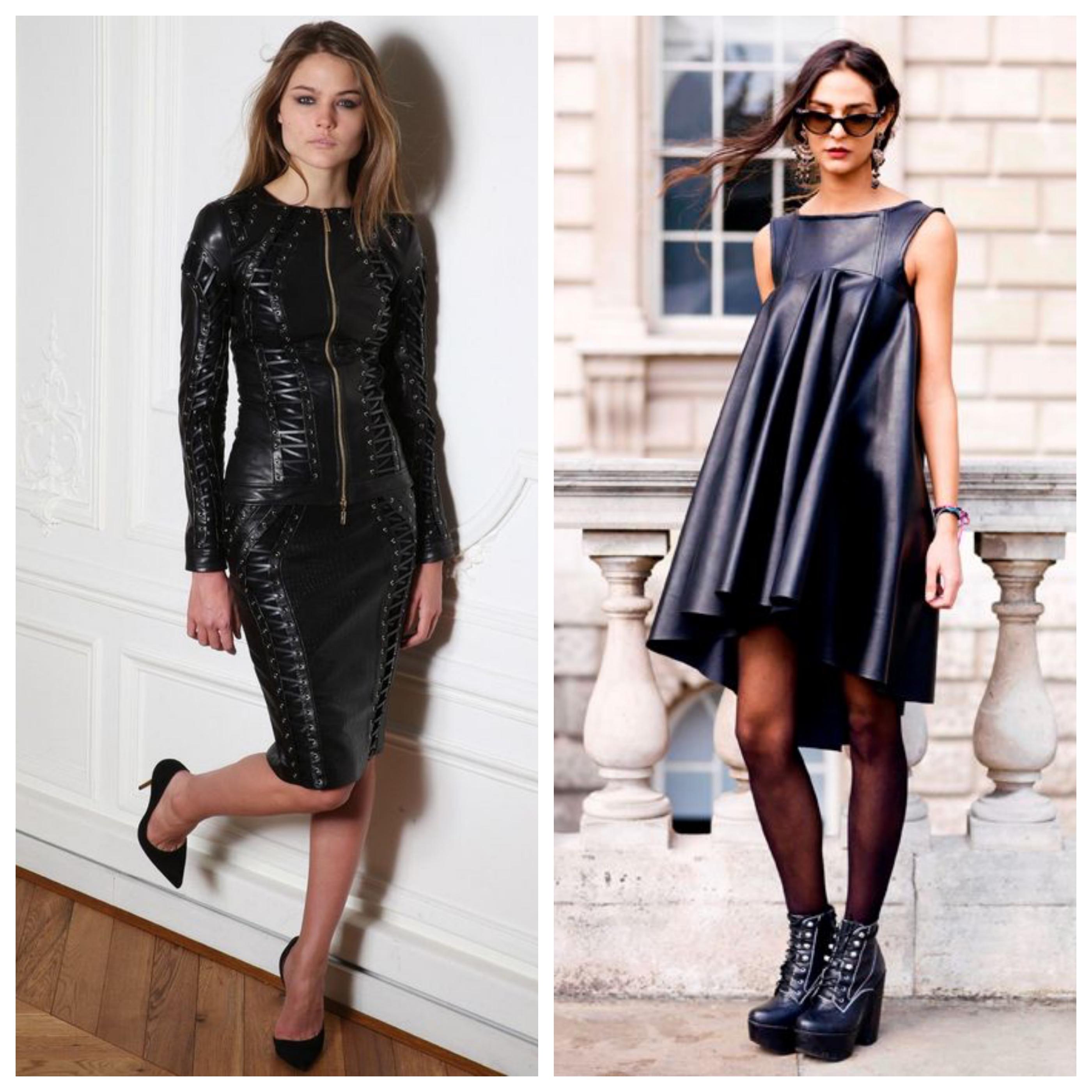 Маленькое черное платье из кожзама