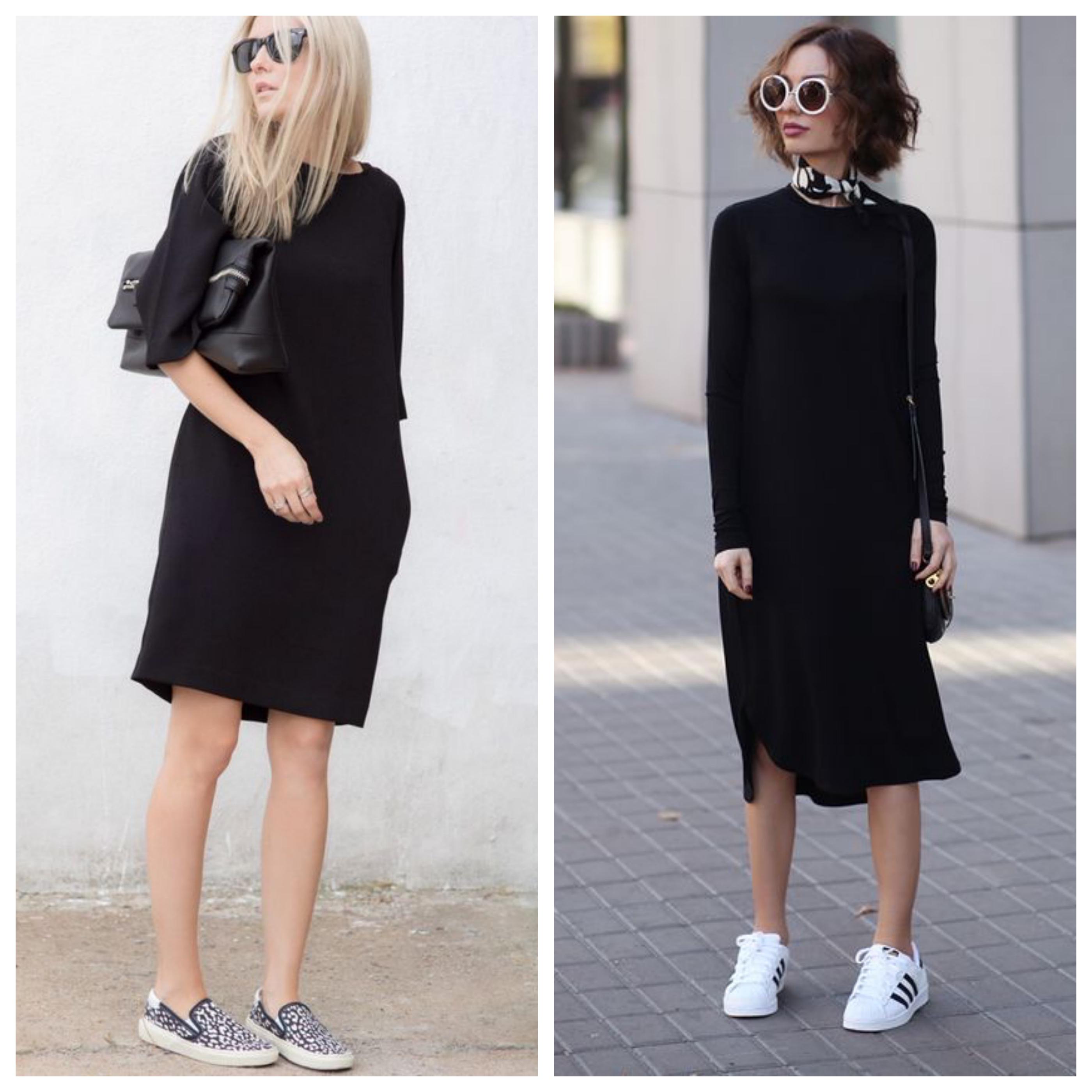 Маленькое черное платье с кроссовками