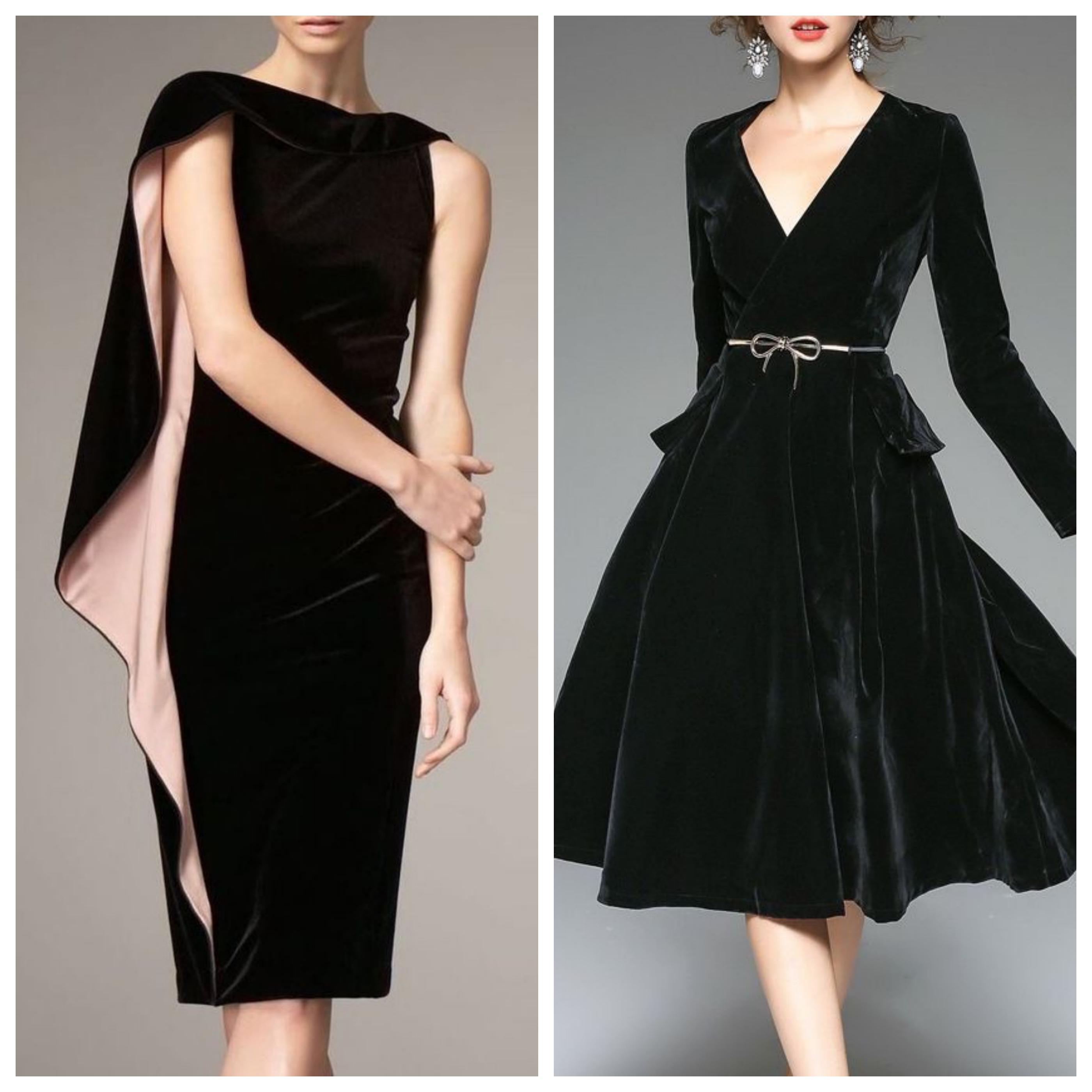 Маленькое черное платье из бархата